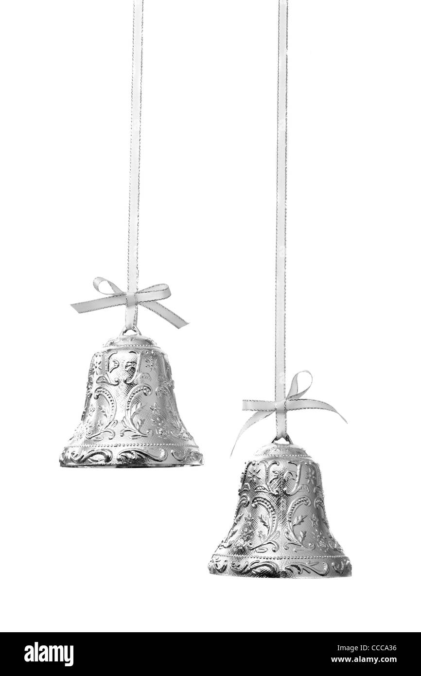 Silver Christmas Bells - Stock Image