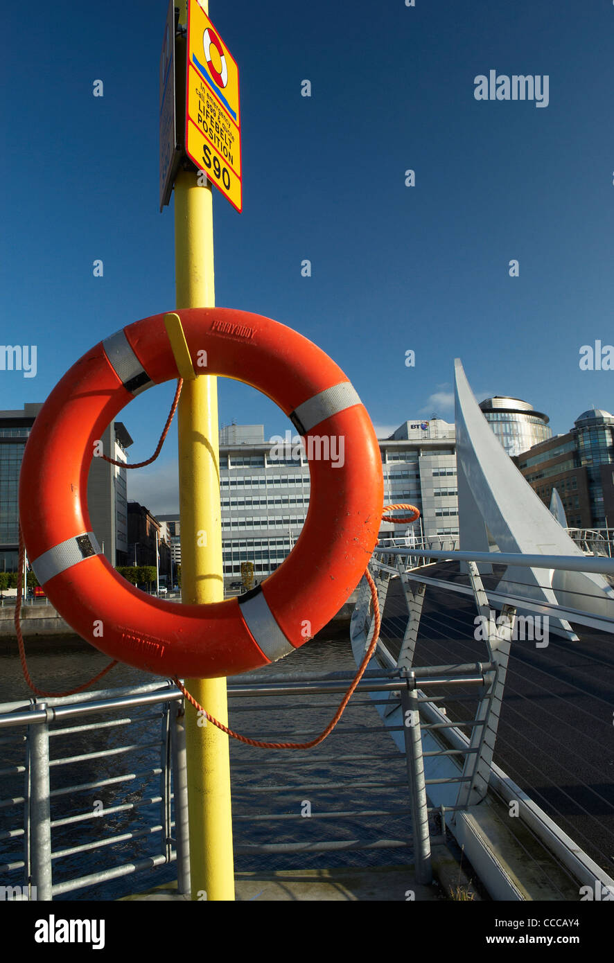 Lifebelt on the River Clyde at Glasgow City Centre - Stock Image