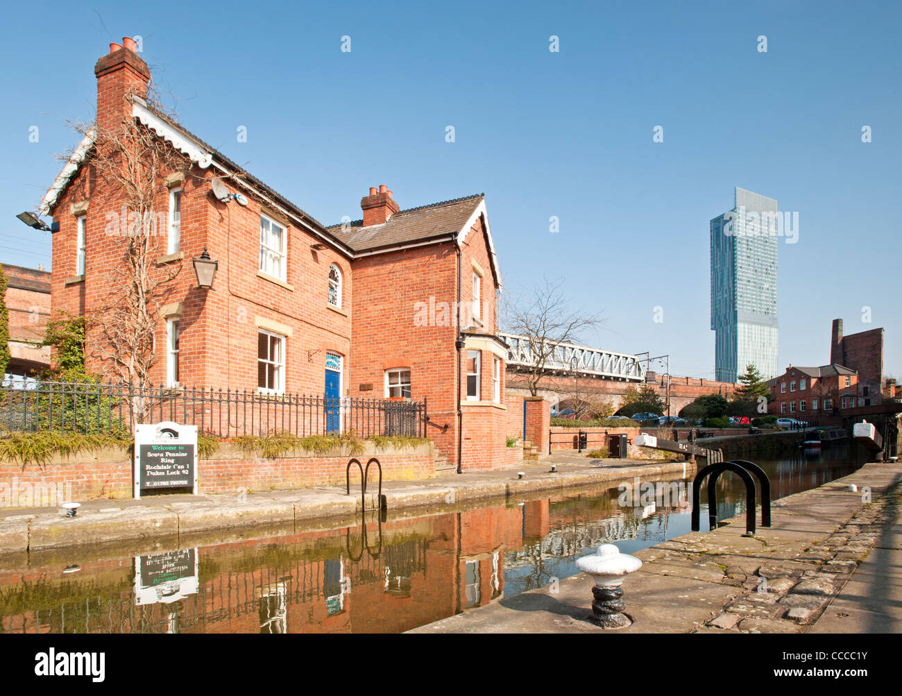 Bridgewater Canal Lock 92 (Dukes Lock), Lock Keepers Cottage & Beetham Tower, Castlefield, Manchester, England, - Stock Image