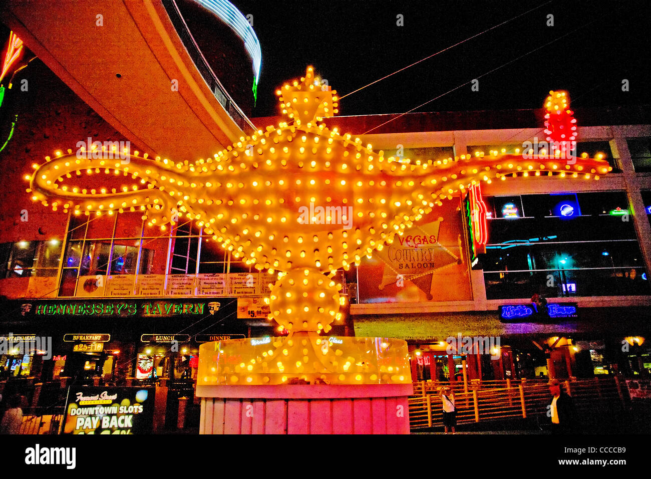 Aladdin's lamp sign decorates Fremont Street in Las Vegas, NV, as part of the 'Fremont Street Experience'. - Stock Image