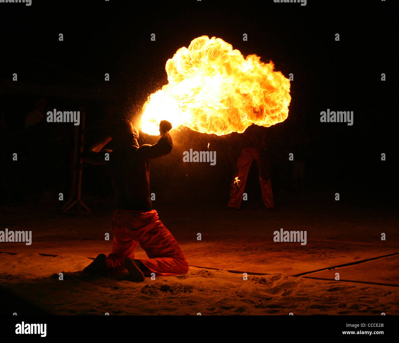 Fire eating in St Lucia - caught this guy on camera whilst on honeymoon! Stock Photo