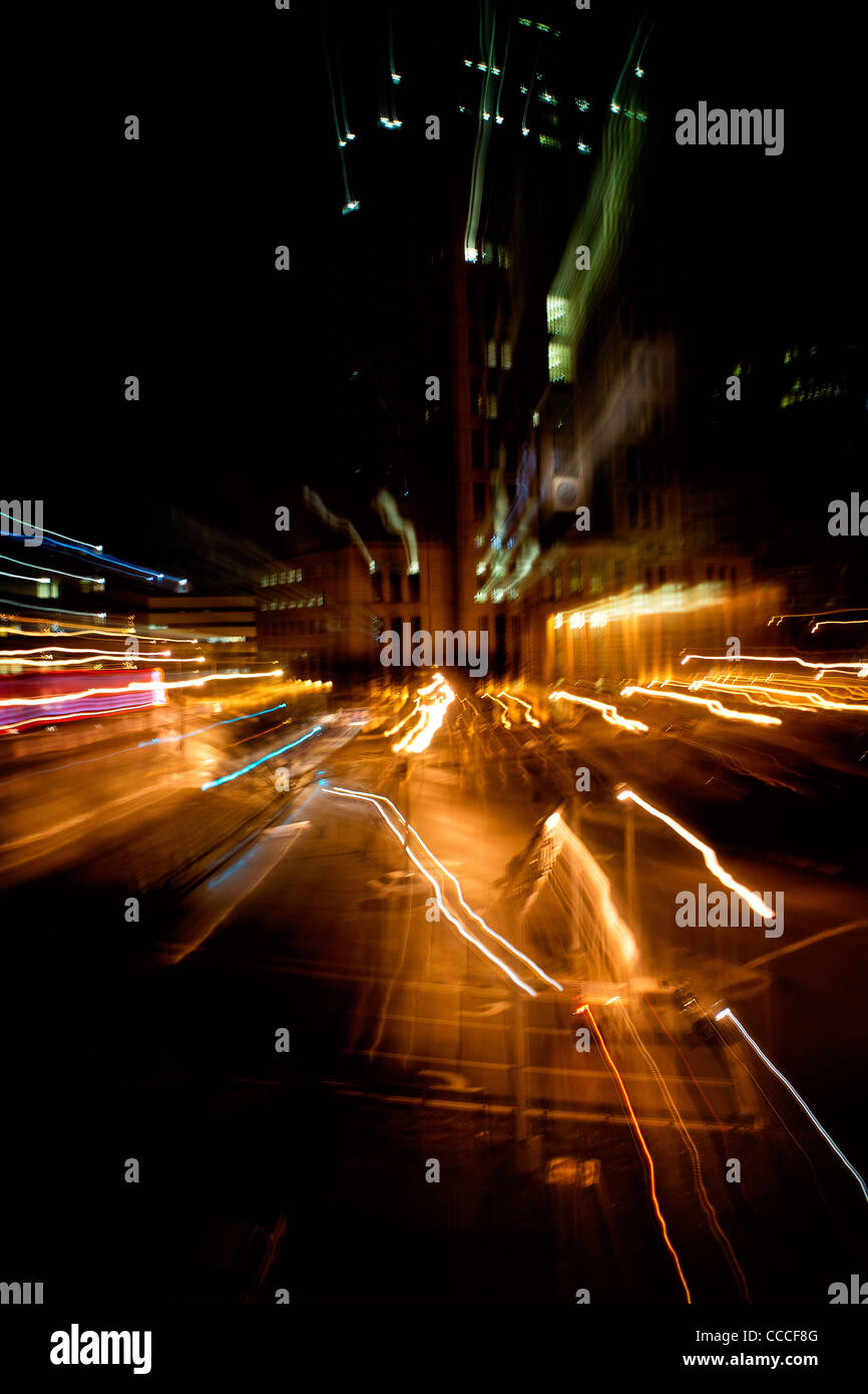 Abstract of night lights on highway. - Stock Image