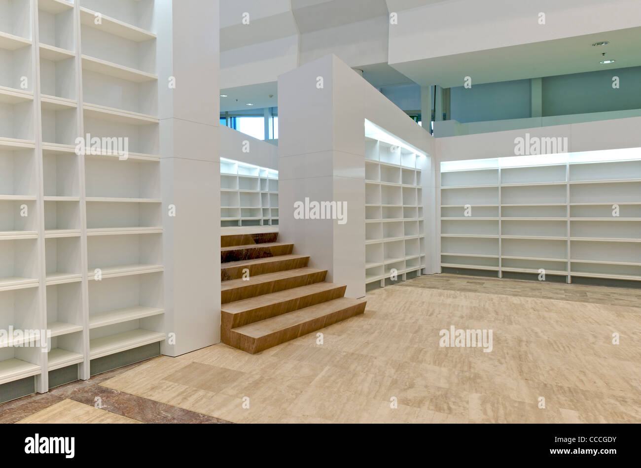 City of culture galicia spain peter eisenman architects interior view of reading area in library bookshelves and marble floor