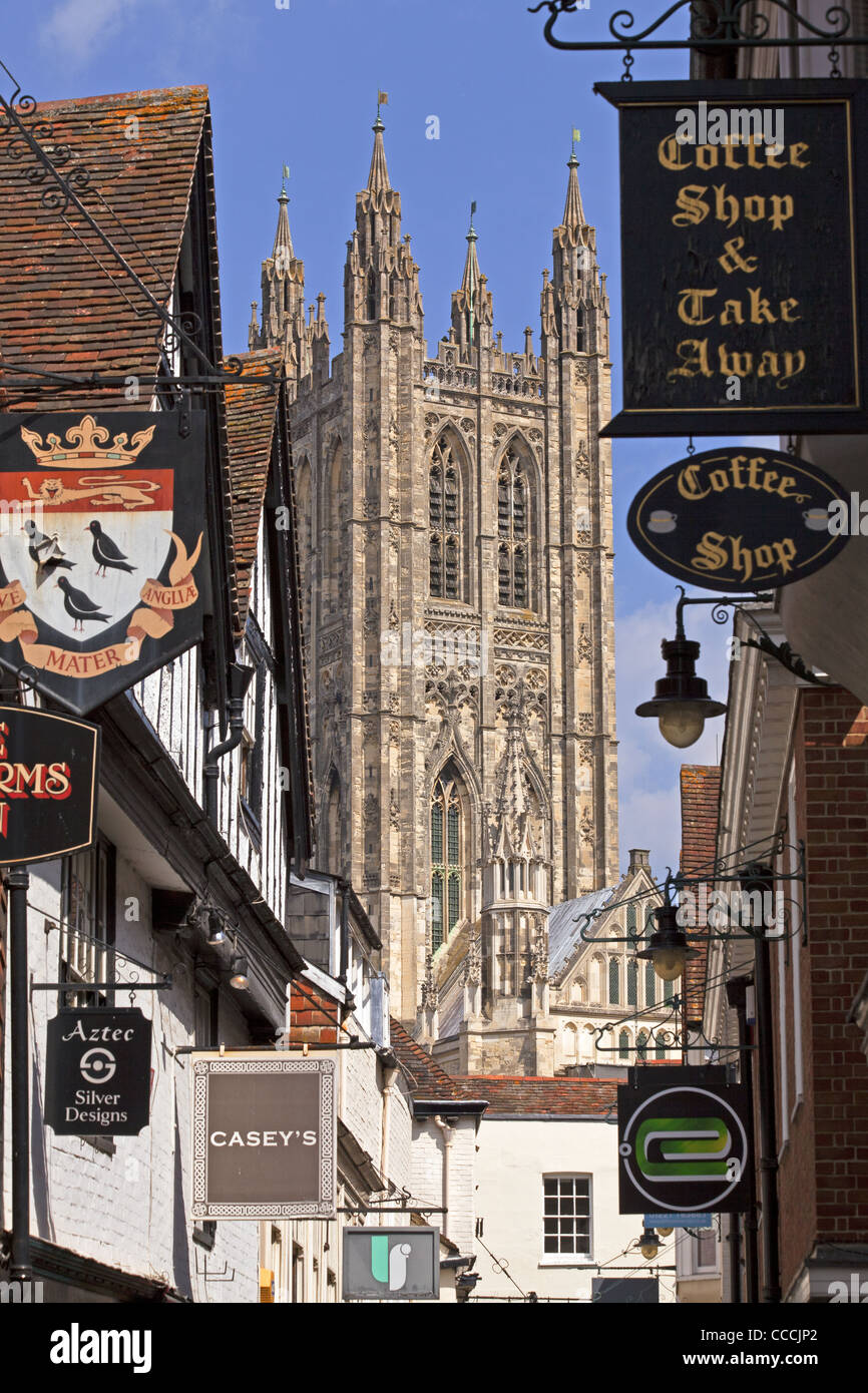 The Great Bell Harry Tower of Canterbury Cathedral from Butcher's Lane in Canterbury, Kent, England - Stock Image