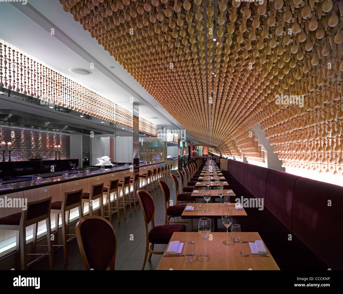 Aqua Restaraunt, London, Glamorous, 2011-overall view in Spanish section - Stock Image