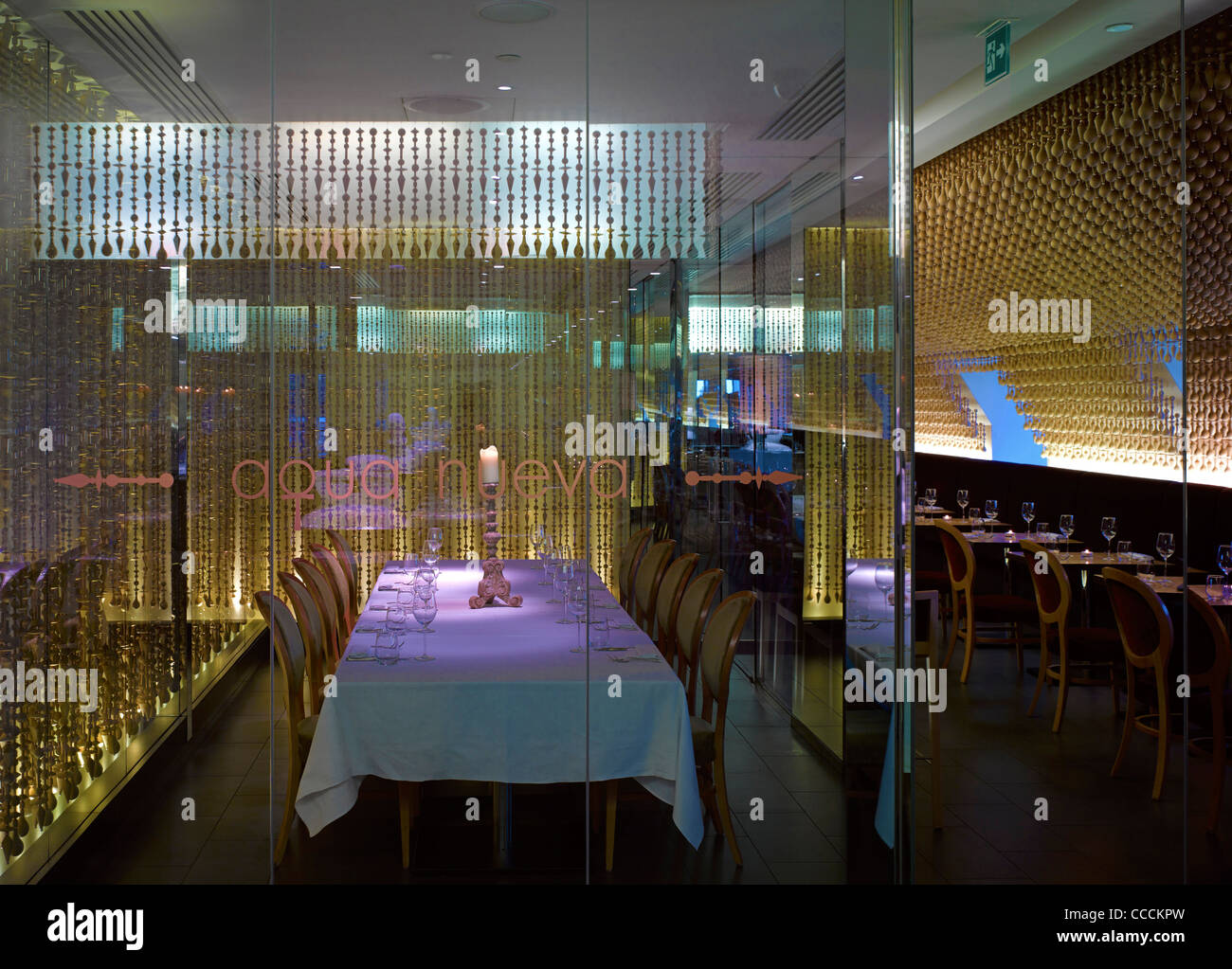 Aqua Restaraunt, London, Glamorous, 2011-private dinning room - Stock Image