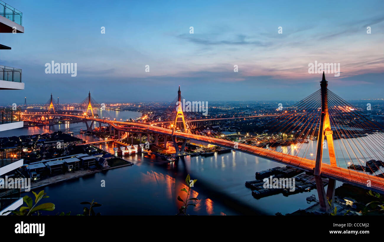 Bhumibol Bridges & Klong Lad Pho Sluice Gate at Dusk | Bangkok - Stock Image