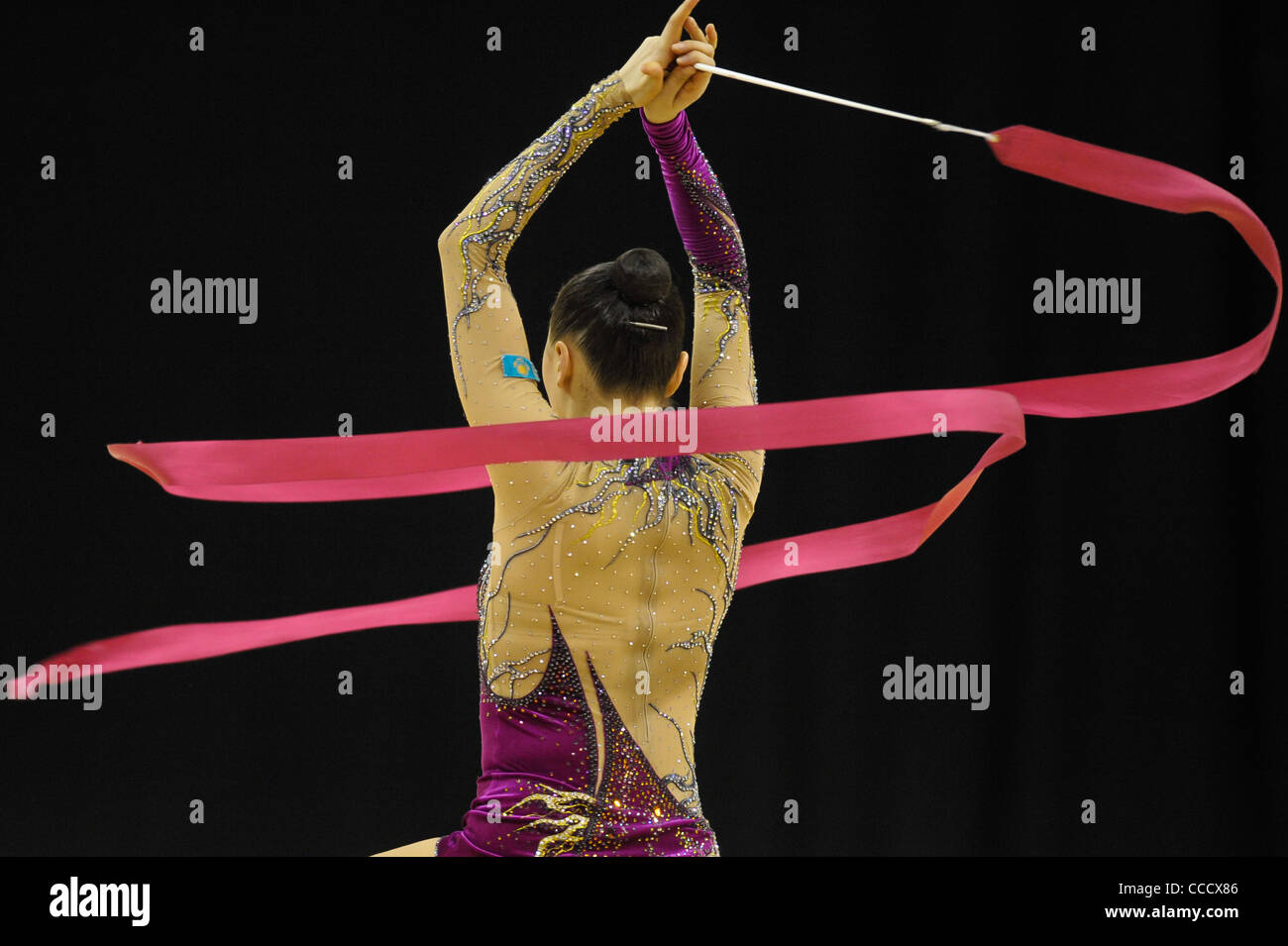 Olympic Test Event Gymnastics. O2 Arena London England.18.1.12. Rhythmic Competition. ALYABYEVA Anna - Stock Image