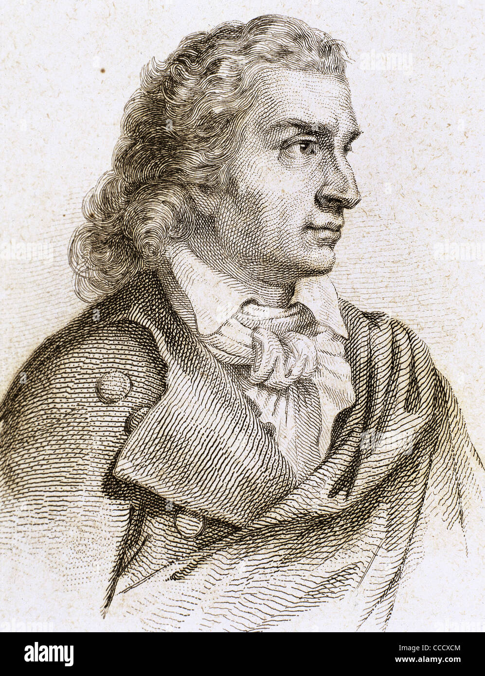 Friedrich Schiller (1759-1805). German poet, philosopher, historian, and playwright. Engraving. - Stock Image