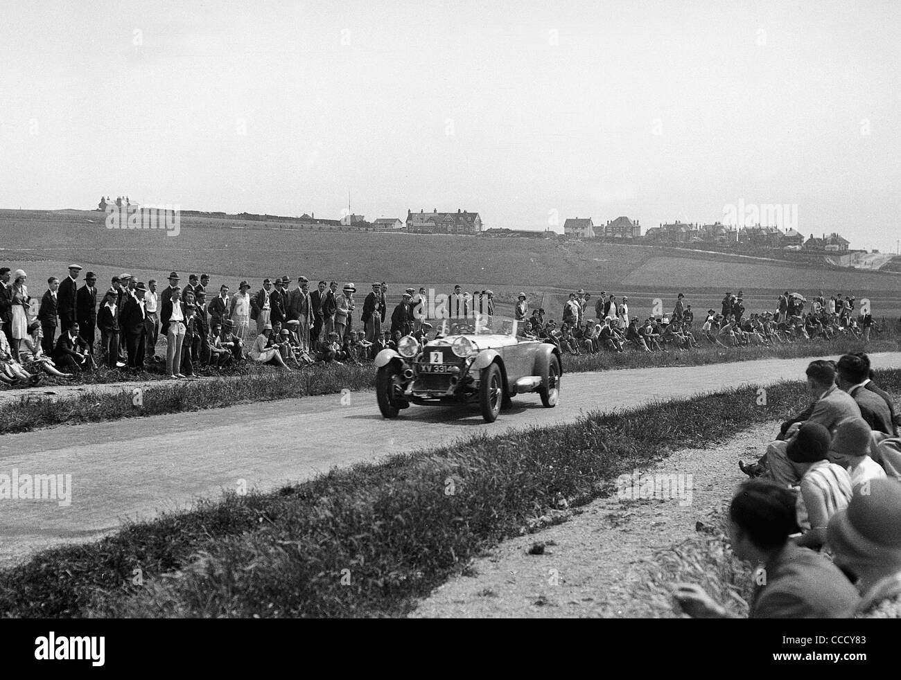 1929 Mercedes Benz S on acceleration test during 1930 Brighton Rally, Earl Howe. - Stock Image