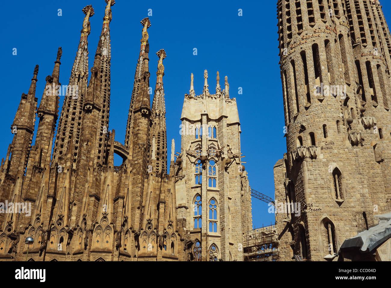 Spain. Catalonia. Barcelona. Antoni Gaudi  (1852-1926). Basilica and Expiatory Church of the Holy Family. Detail. - Stock Image