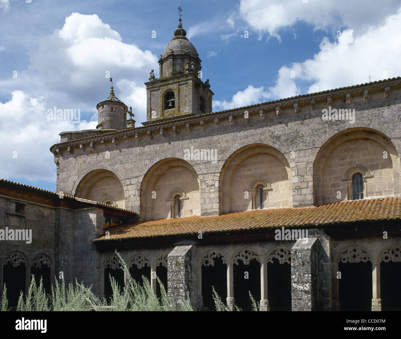 Collegiate Church of Saint Mary. Cloister. Late Gothic. 15th century. Detail. Xunqueira of Ambia. Galicia. Spain. - Stock Image