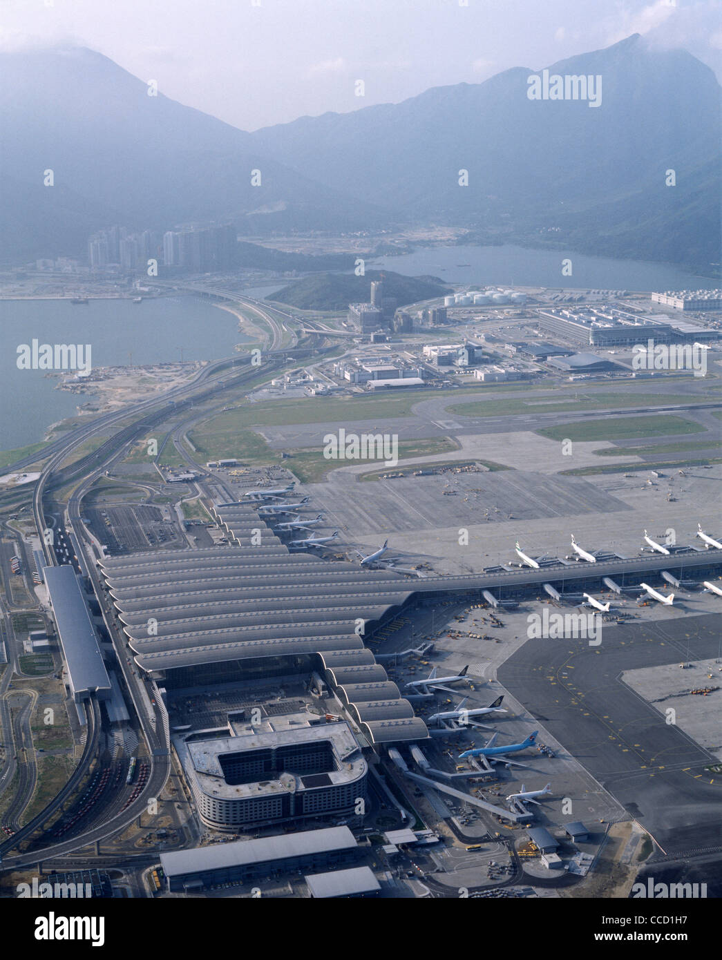 CHEK LAP KOK, HONG KONG INTERNATIONAL AIRPORT AERIAL VIEW - Stock Image