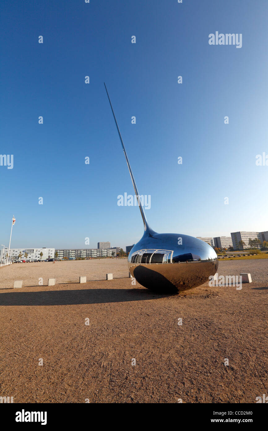 "The ""Receiver"" sculpture by the German art group Inges Idee in front of Danish Broadcasting Corp. - DR's new Radio Stock Photo"