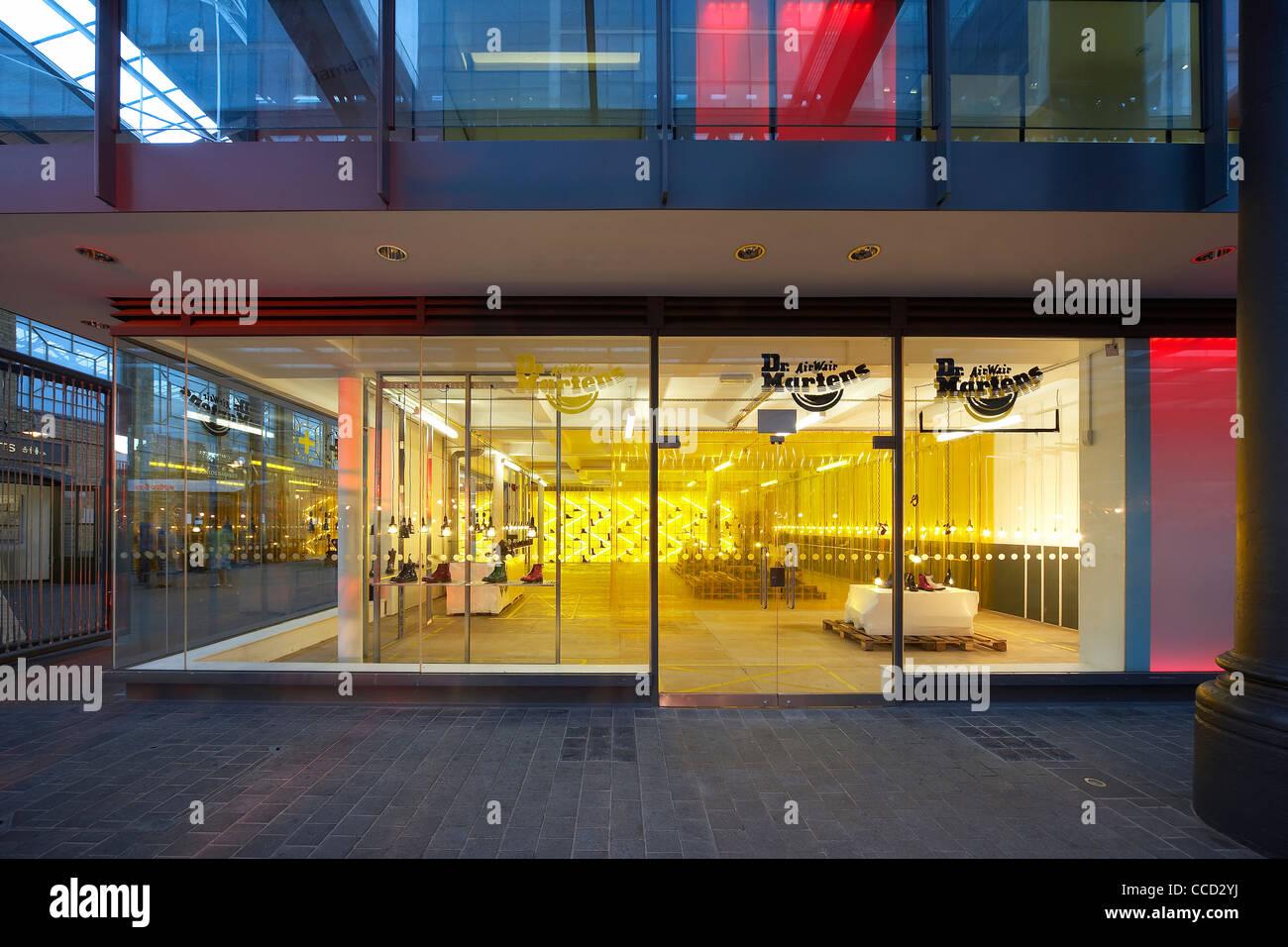 Nice Dr Marten Pop Up Store Campaign Design Spitalfields London Uk 2009 Exterior  View Shop Front Showing Interior Illuminated Inside