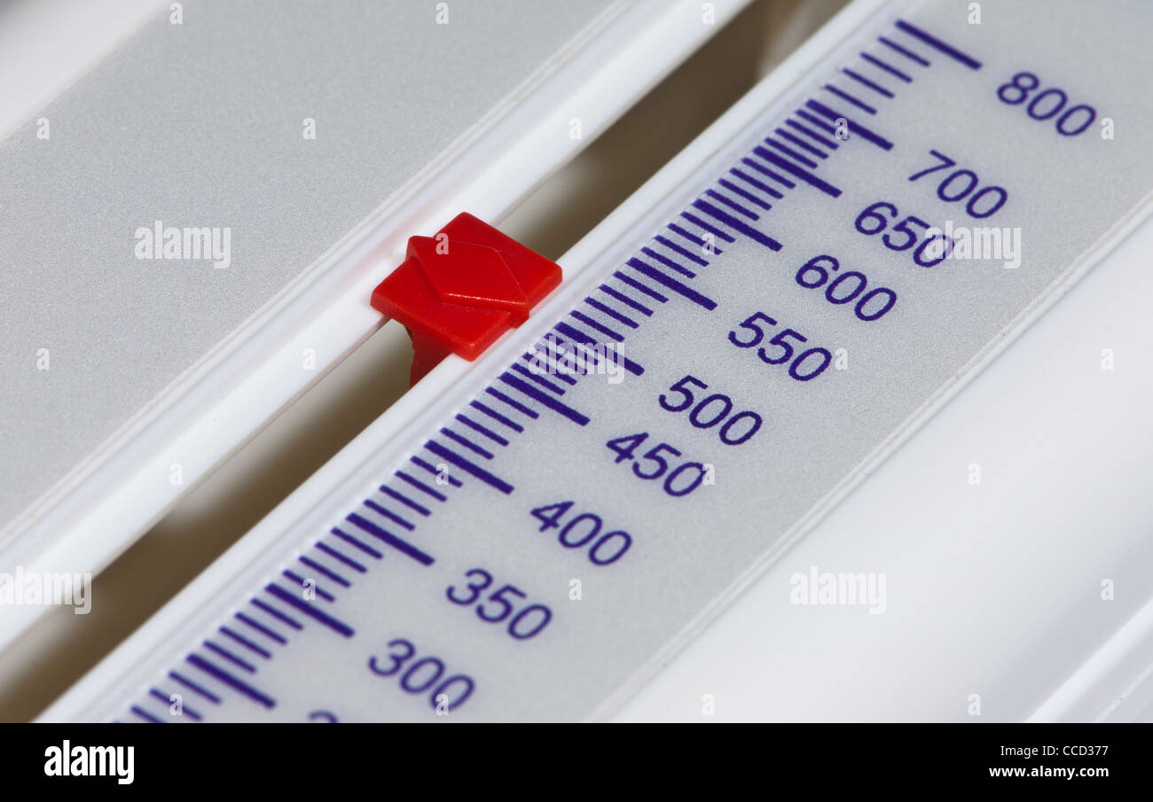 Close up of scale on a Peak flow meter at 500 - Stock Image