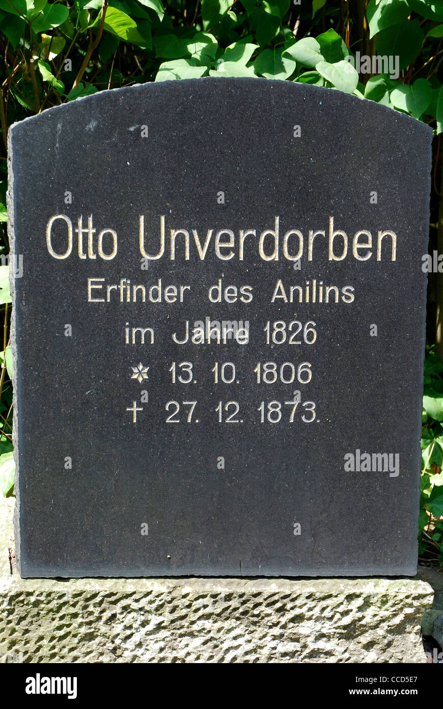 Grave of the aniline inventor Otto Unverdorben in Dahme in the Mark Brandenburg. - Stock Image