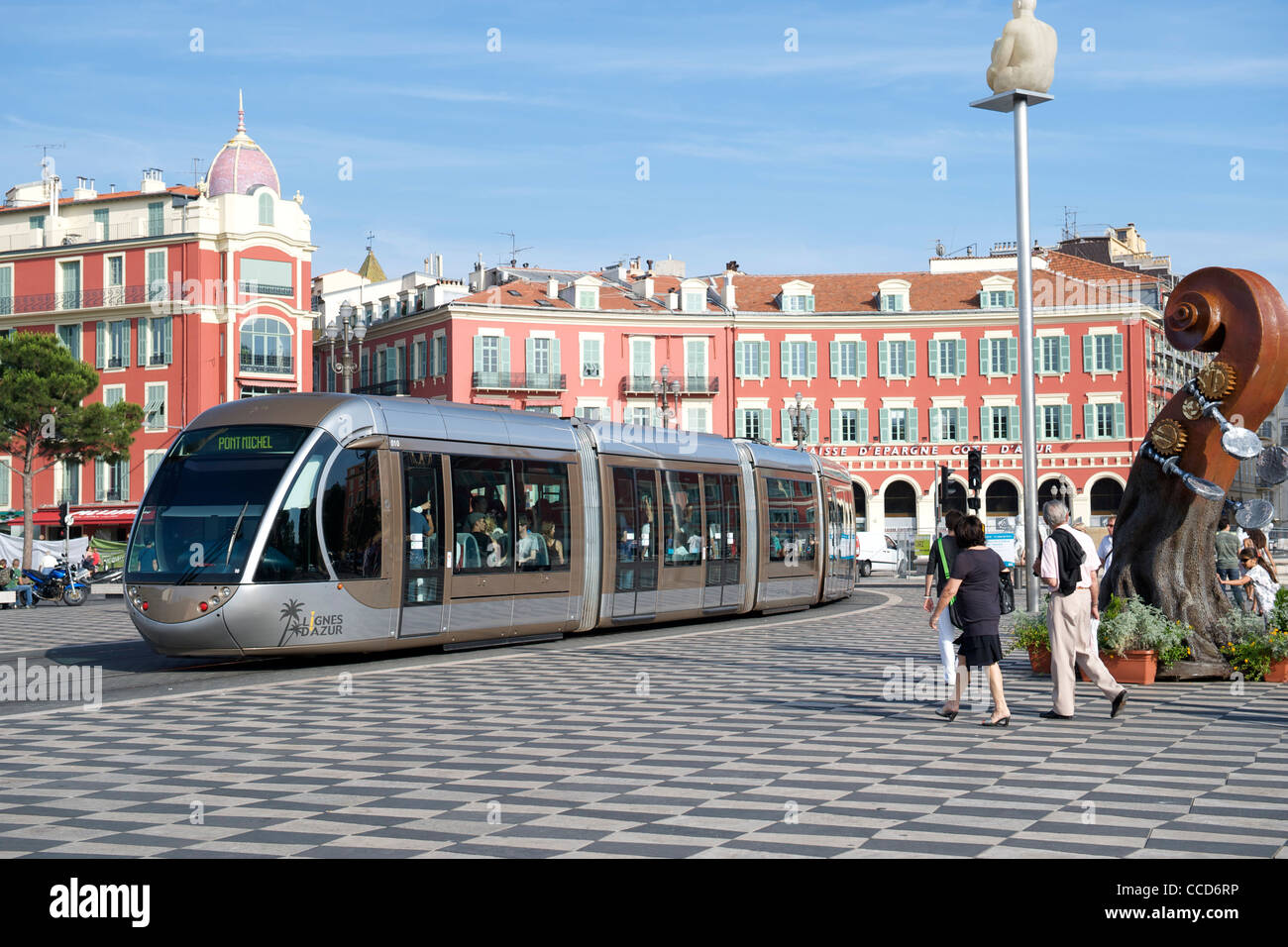 Tram running through the Place Massena in Nice on the Mediterranean coast in southern France. Stock Photo
