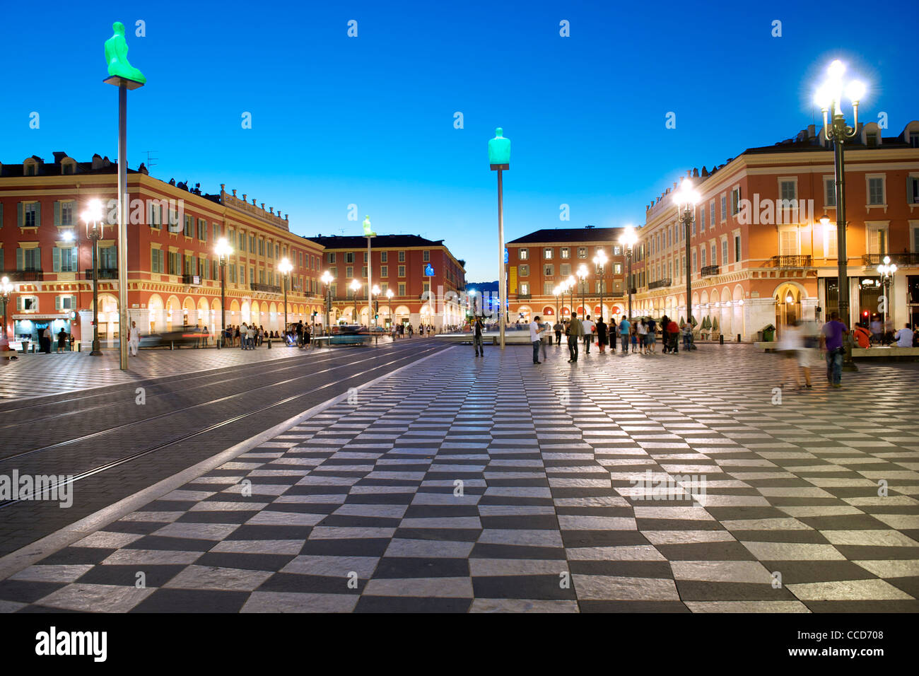 Dusk view of the Place Massena and Galleries Lafayette in Nice on the Mediterranean coast in southern France. - Stock Image