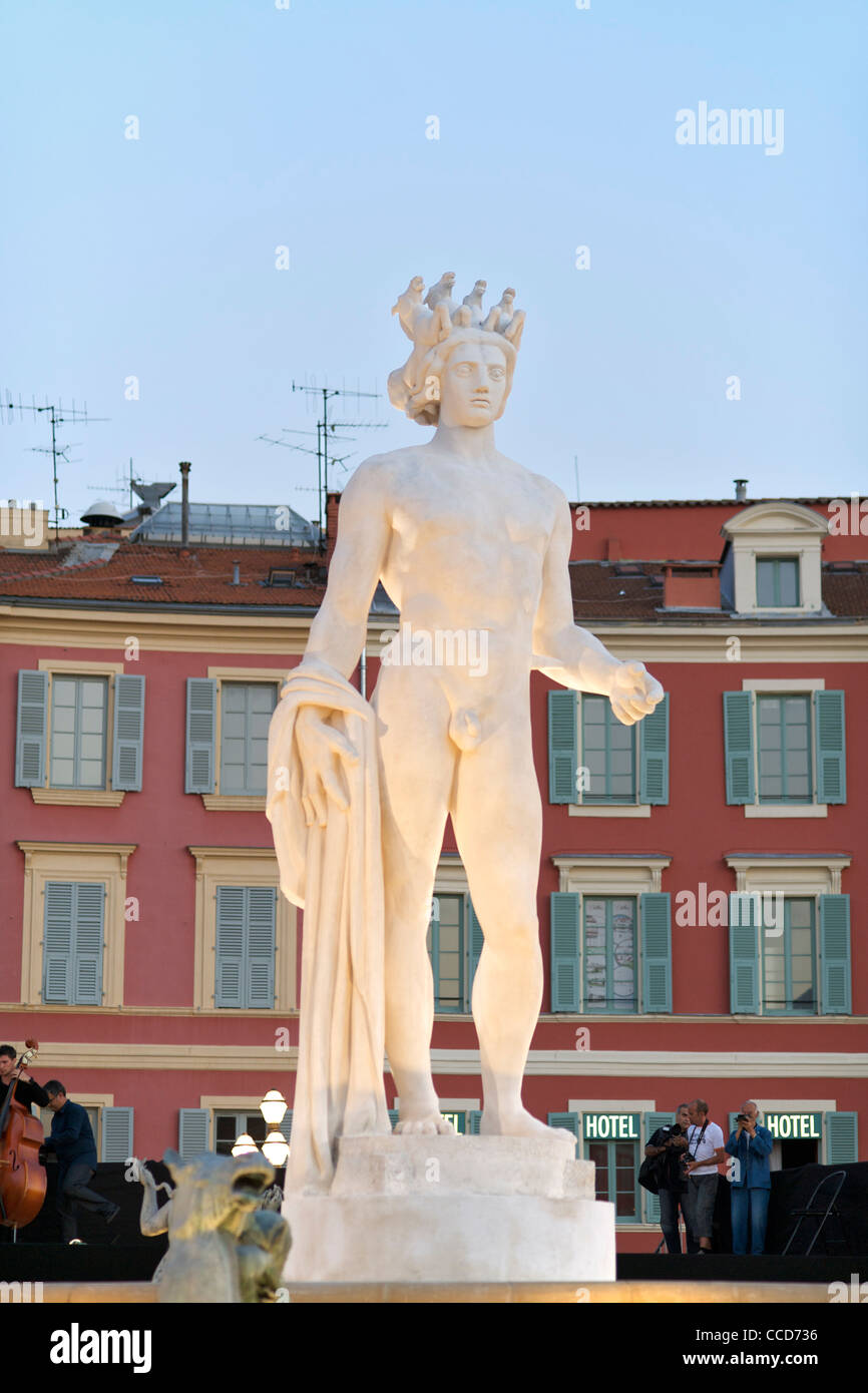 Statue of Apollo in the Place Massena in Nice on the Mediterranean coast in southern France. - Stock Image