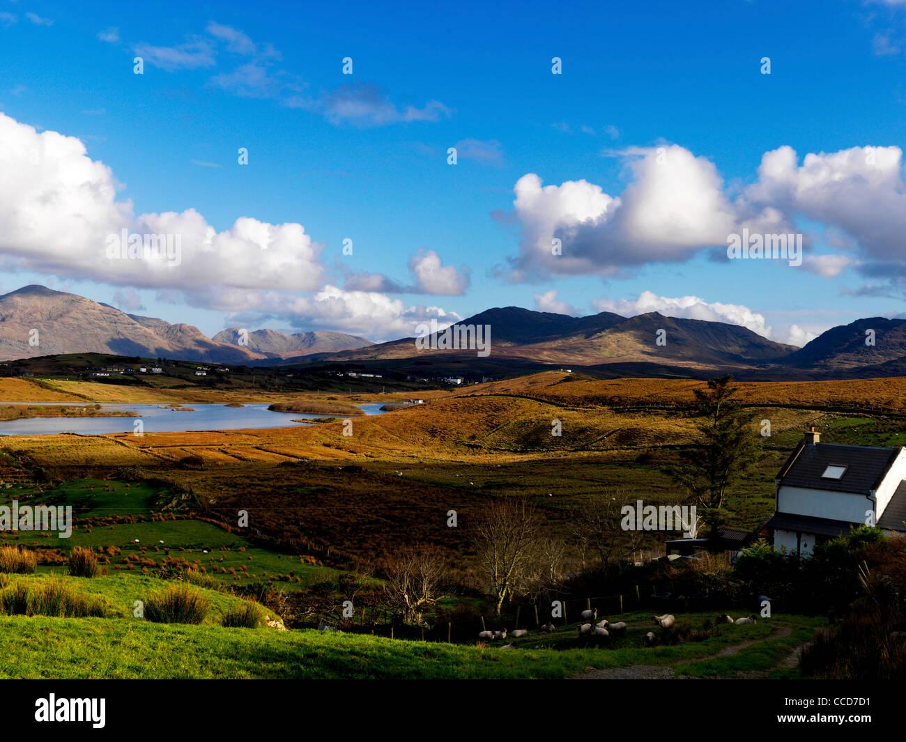 Twelve Pins Bens, Maumturk mountains Lough Tully, Connemara, County Galway, Ireland - Stock Image