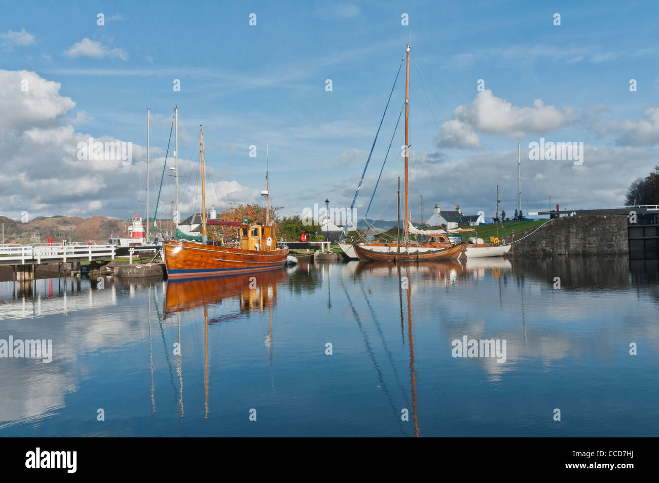 Yachts and boats in basin Crinan Canal Crinan Argyll & Bute Scotland - Stock Image