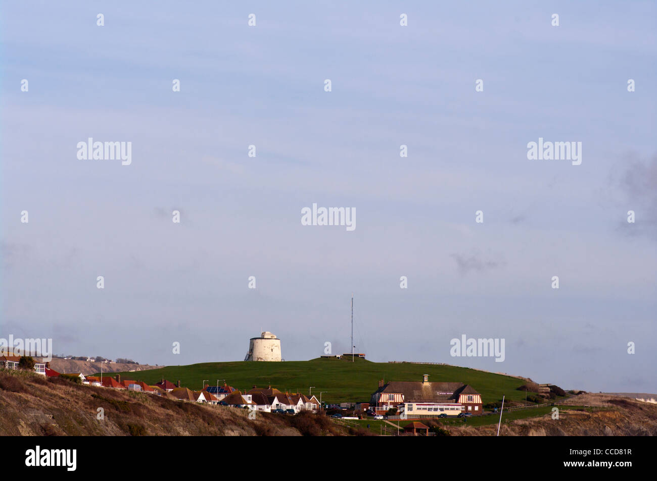 Martello Tower Number Three 3 On The Clifftops Overlooking The Coastal Town Of Folkestone Kent UK Towns - Stock Image