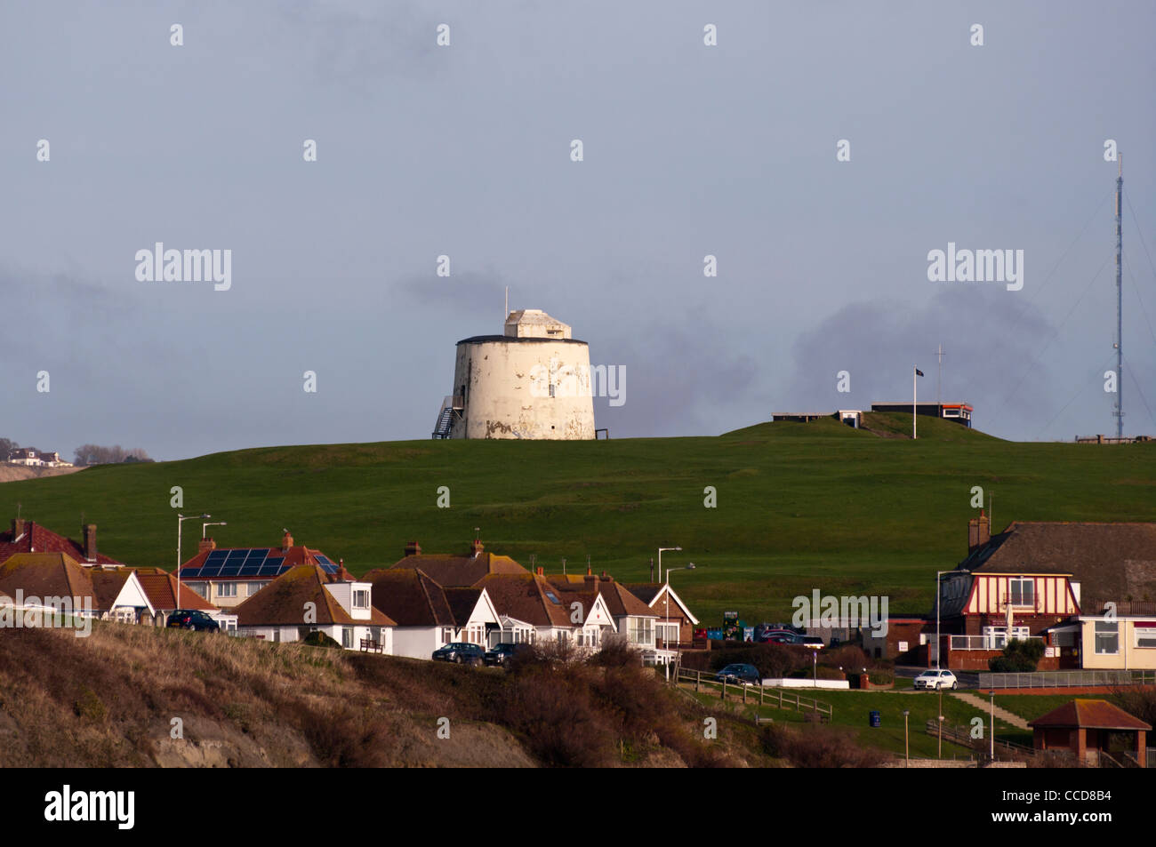 Martello Tower Number Three 3 On The Clifftops at The Coastal Town Of Folkestone Kent UK Towns Towers - Stock Image