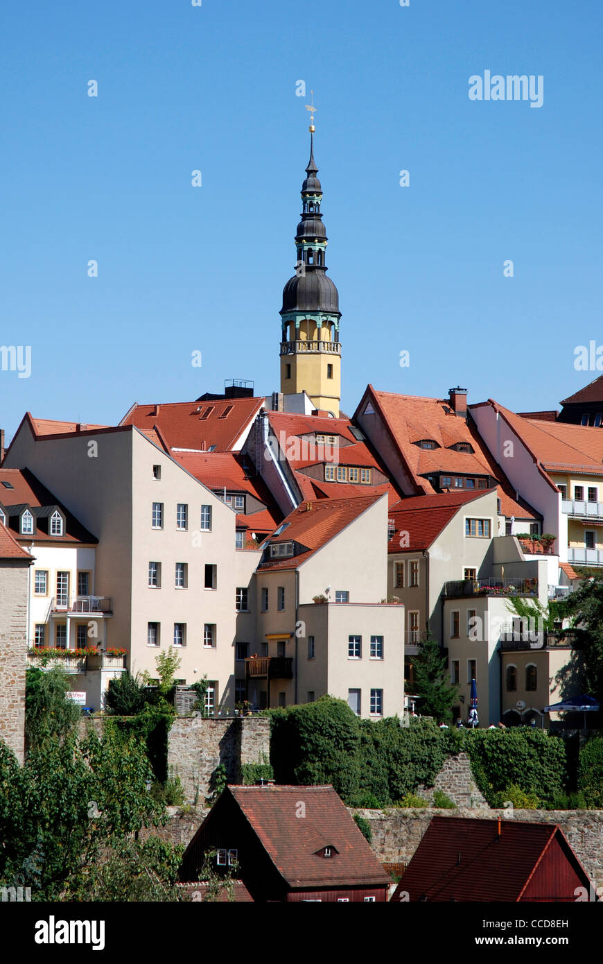 Old town of Bautzen with the historical City hall. - Stock Image