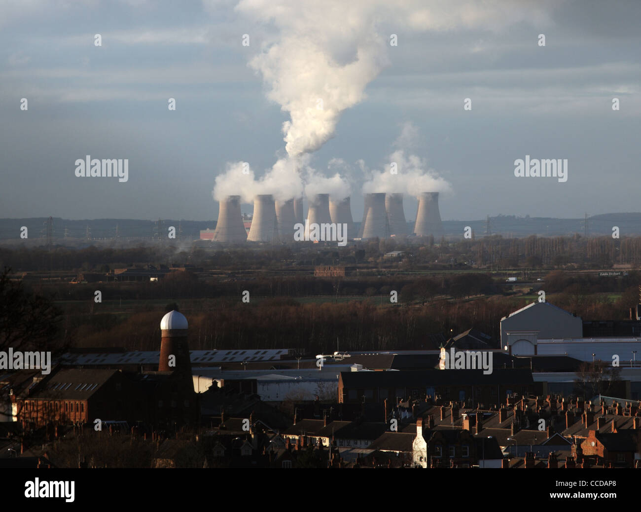 Cottam Power Station viewed from Lincoln, England - Stock Image