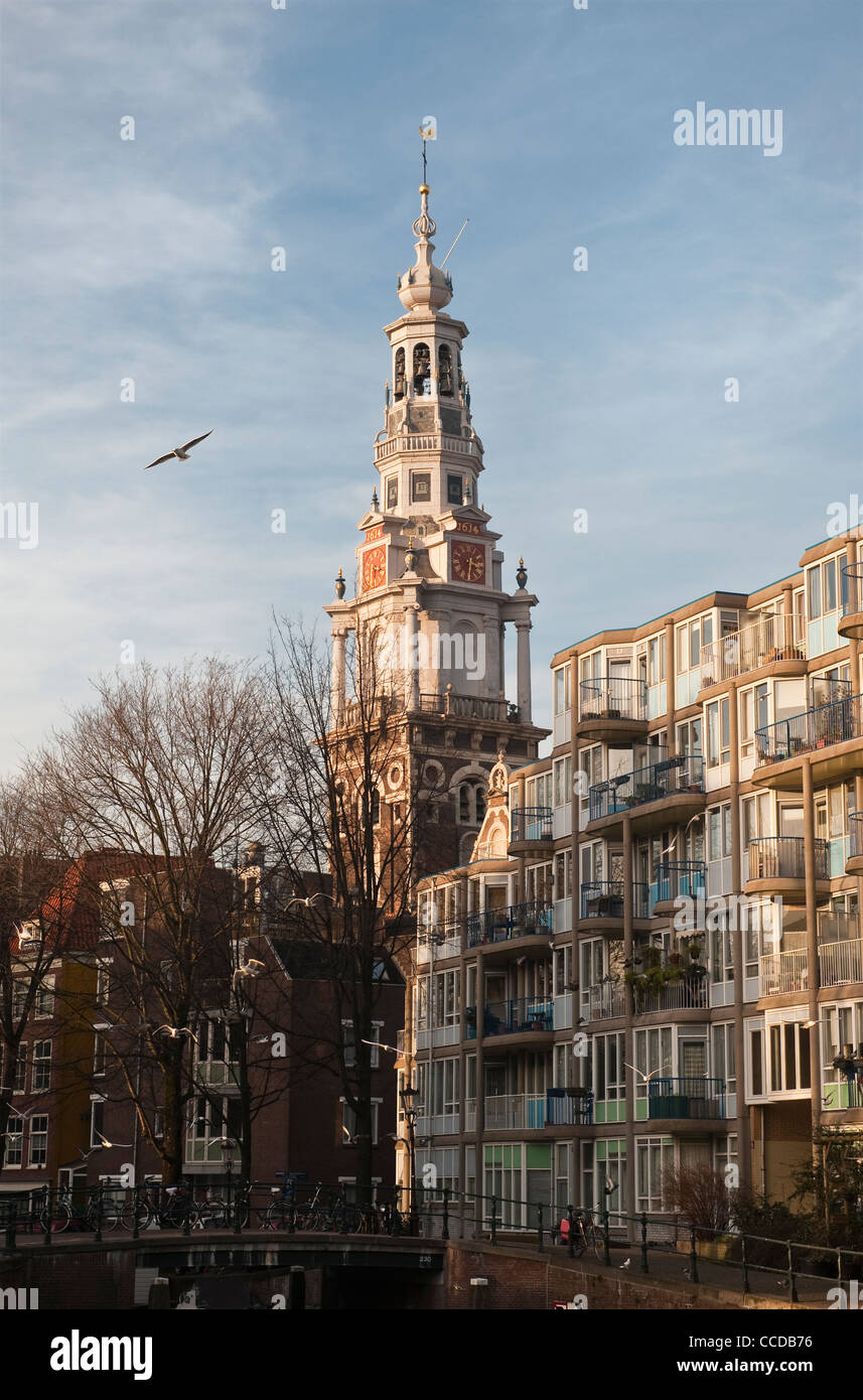 Amsterdam, the Netherlands. The tower and spire of the 17th century Zuiderkerk - Stock Image
