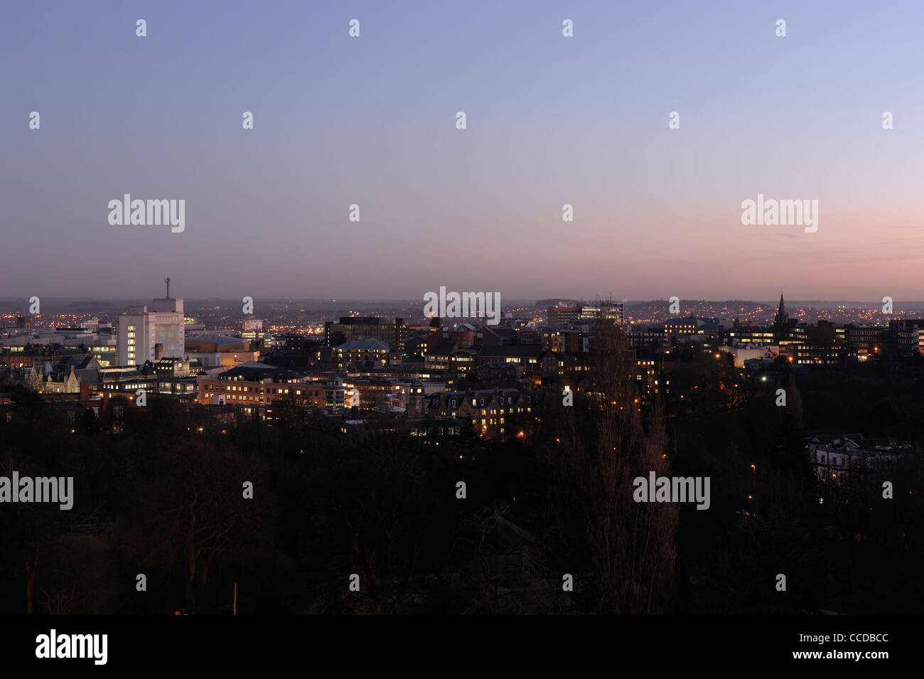 Nottingham panoramic skyline at dusk - Stock Image