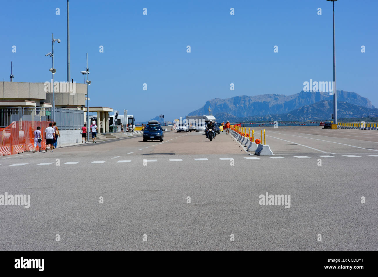 Ship deck for helicopter, Olbia, Sardinia, Italy - Stock Image