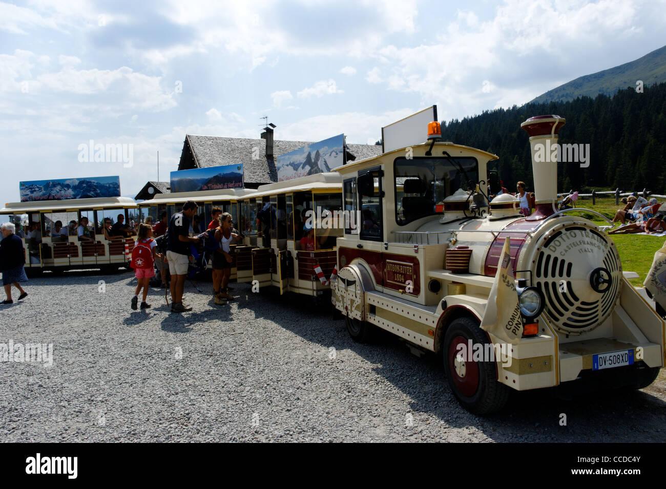Little train for Malga Ritorto mountain hut, Madonna di Campiglio, Trentino Alto Adige, Italy - Stock Image