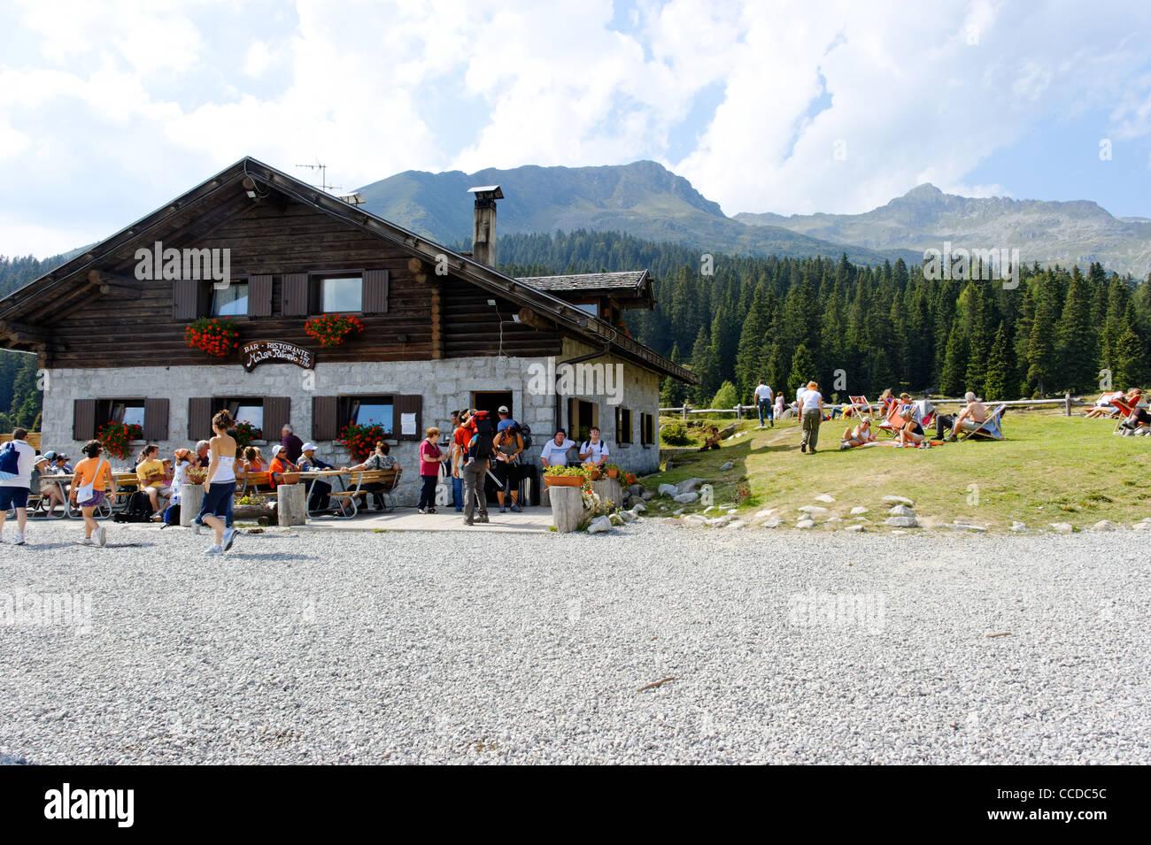 Malga Ritorto mountain hut, Madonna di Campiglio, Trentino Alto Adige, Italy - Stock Image