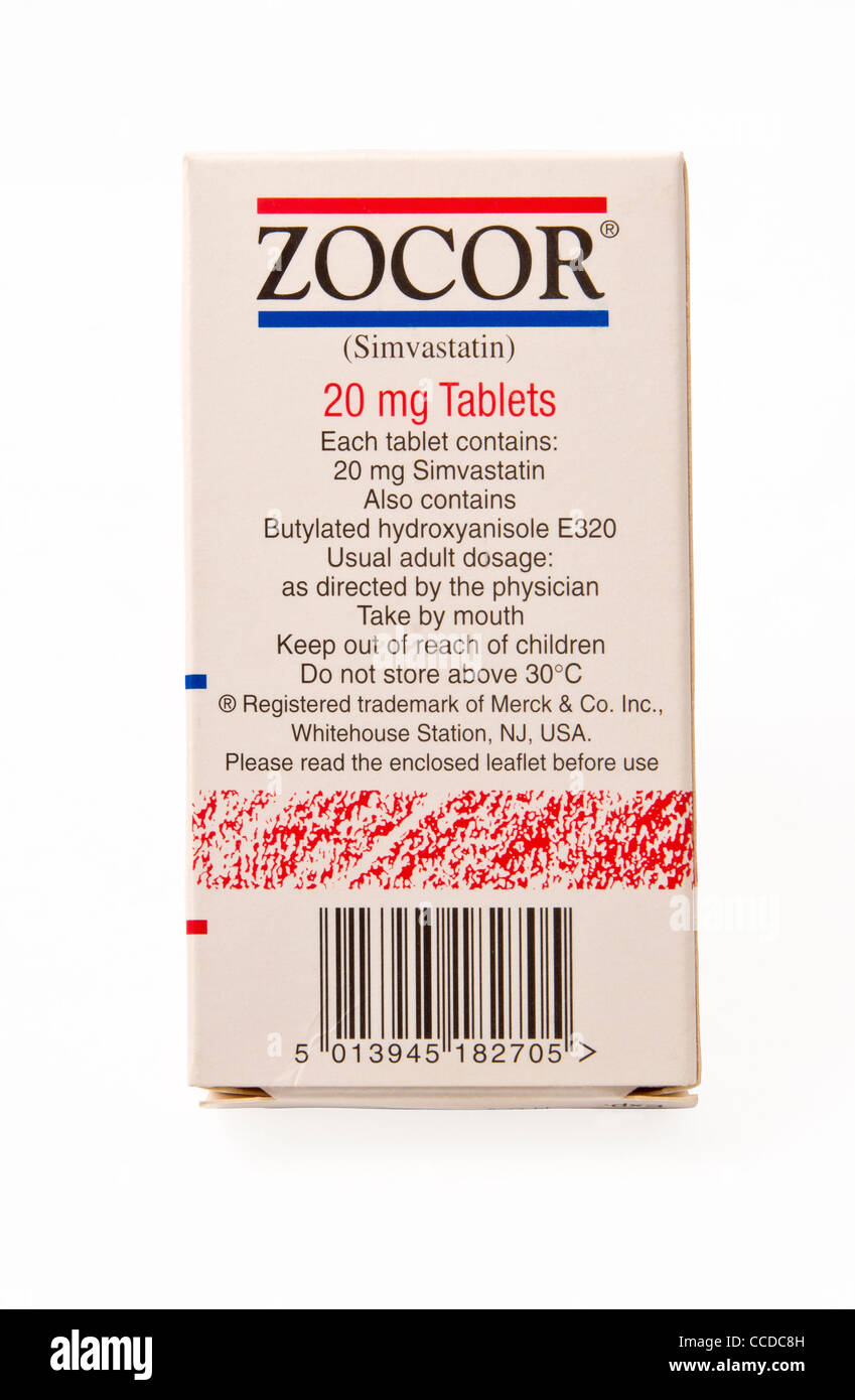 Zocor. A packet of Simvastatin tablets, manufactured by Merck & Co. Inc., and marketed under the trade name - Stock Image