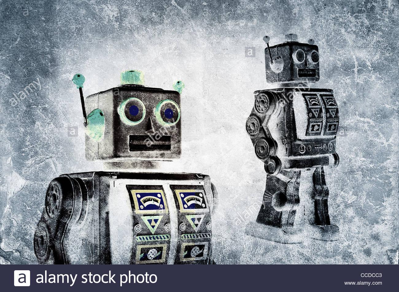 fine art retro tin robot - Stock Image