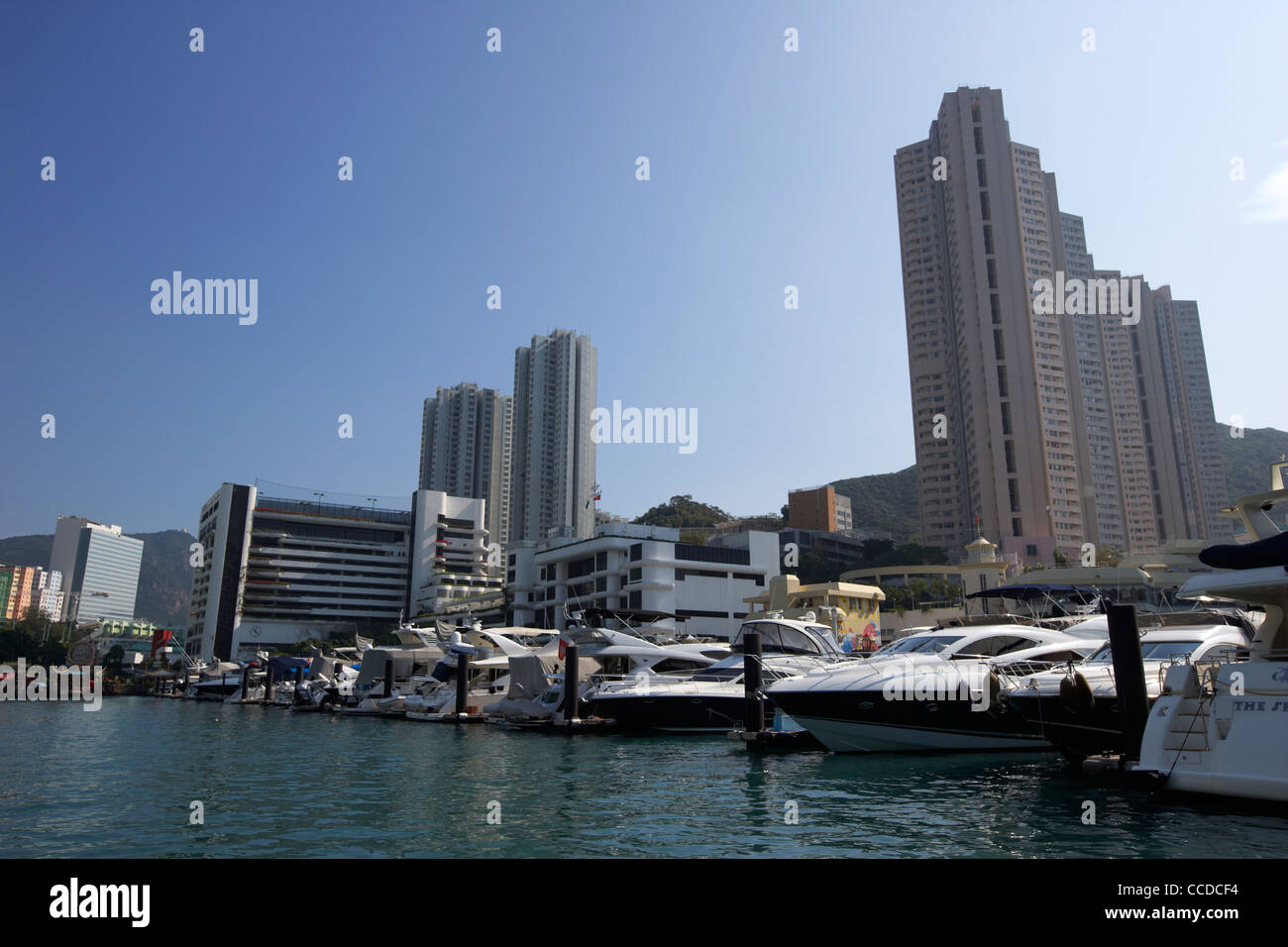 expensive luxury motorboat cruisers moored in aberdeen harbour marina hong kong hksar china asia - Stock Image