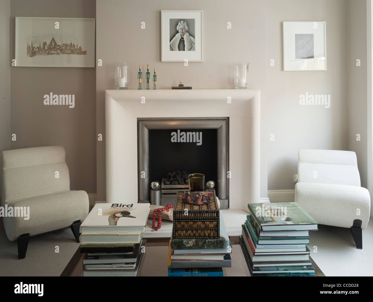 Private house, Westarchitecture, Central London, 2008 Second floor drawing room fire place - Stock Image