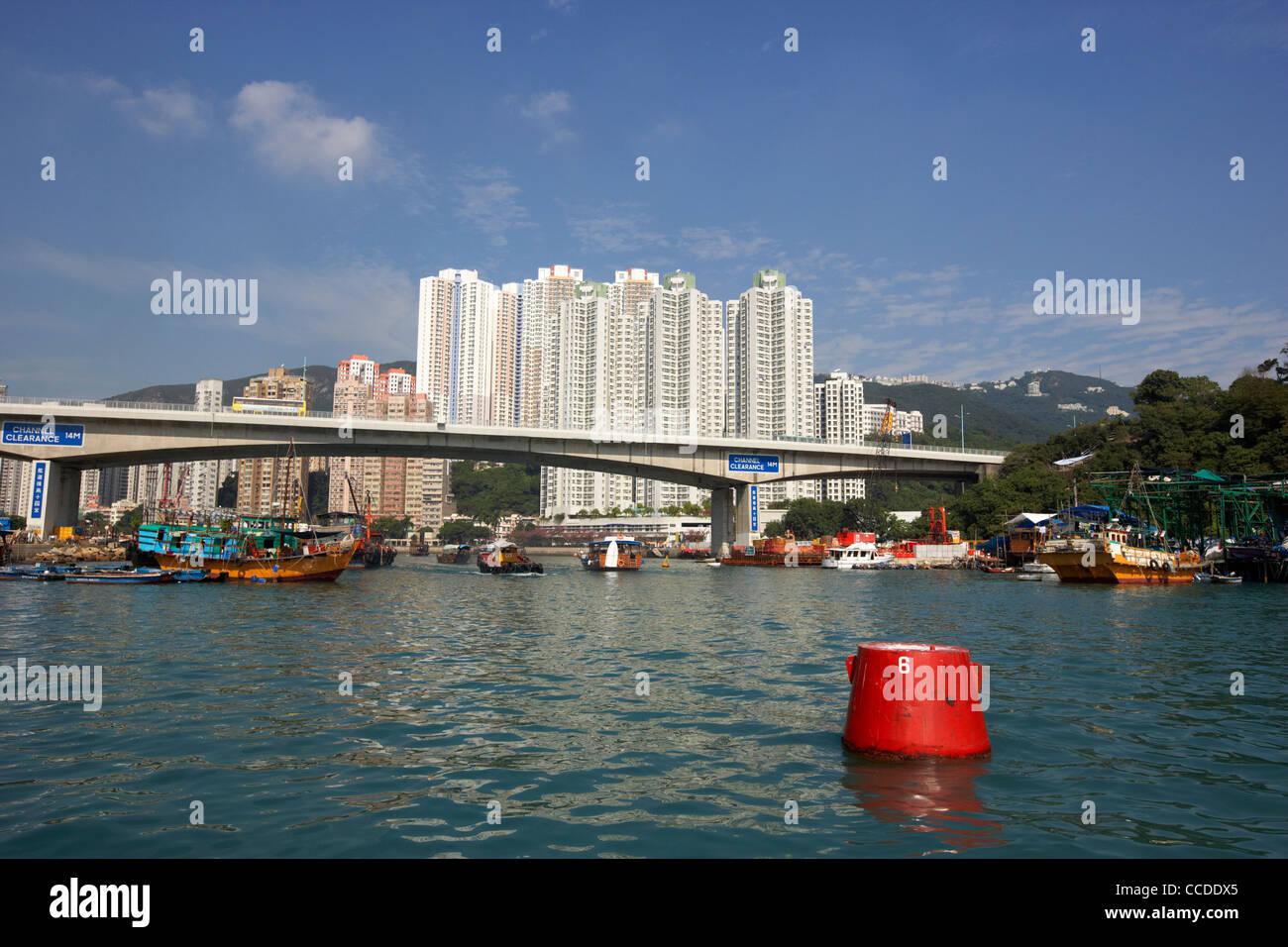 aberdeen harbour and ap lei chau bridge hong kong hksar china asia - Stock Image