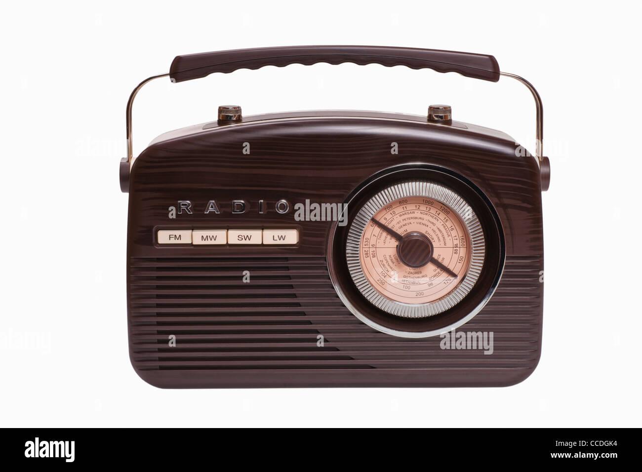 Detailansicht eines alten Radios   Detail photo of a old radio - Stock Image