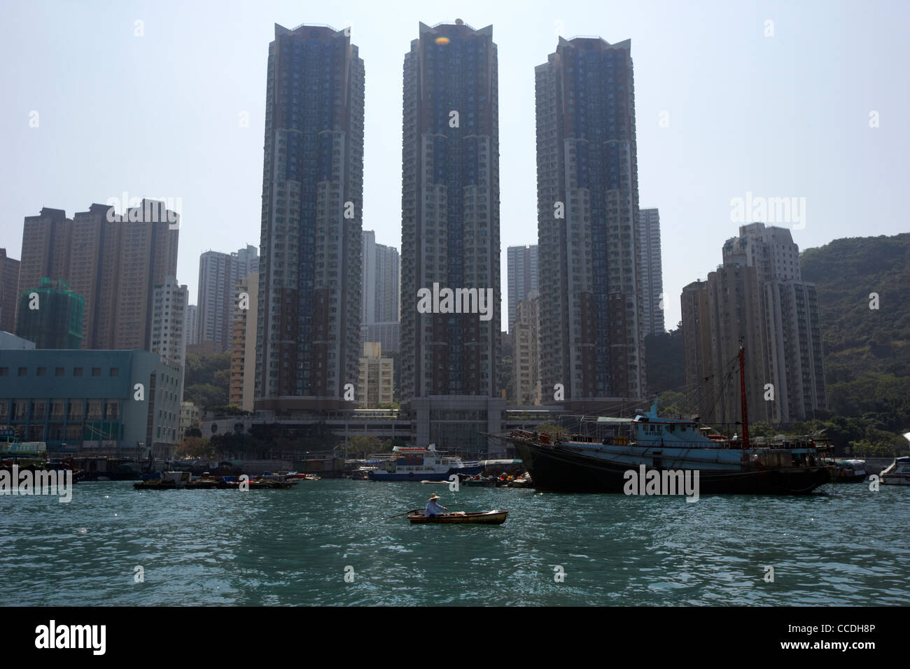 silhouette of marina habitat towers on ap lei chau aberdeen harbour hong kong hksar china asia - Stock Image