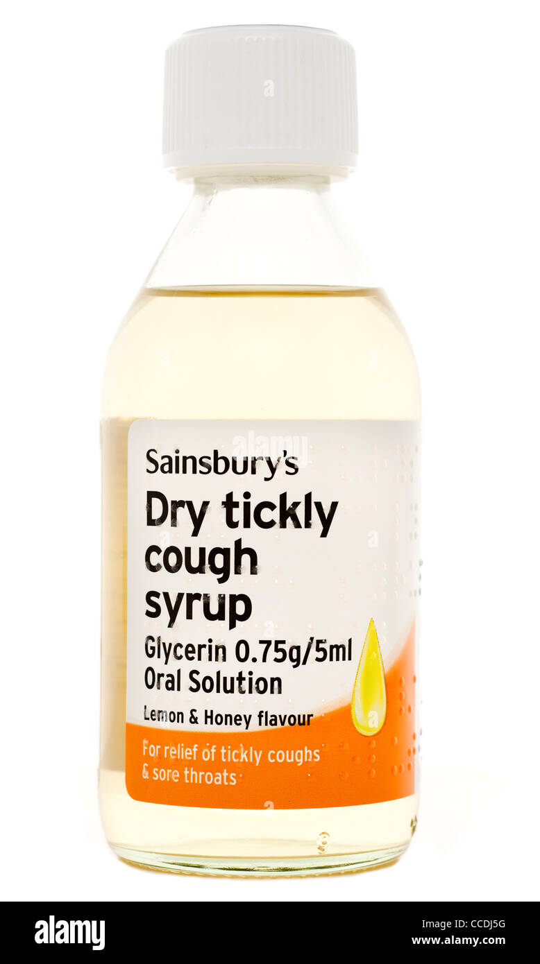 Bottle of Sainsburys Dry tickly cough syrup with glycerin - Stock Image