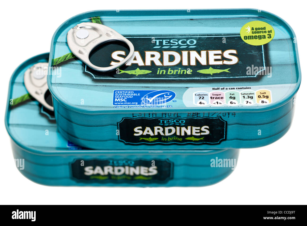 Two tins of Tesco sardines in brine - Stock Image