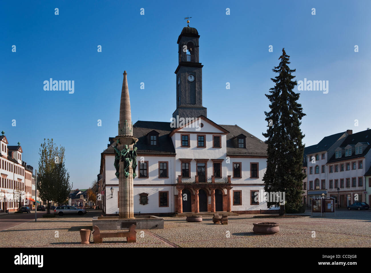 View from the marketplace to the city hall of Rochlitz build in 1828, Rochlitz, Saxony Germany Europe - Stock Image