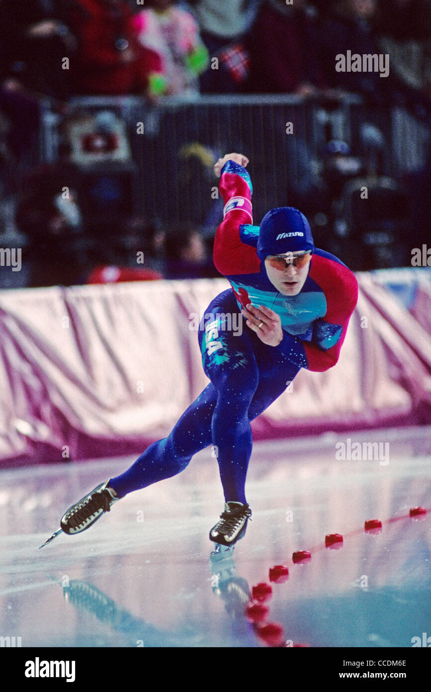 Dan Jansen (USA) skating to gold in the 1000m at the 1994 Olympic Winter Games Lillehammer Norway - Stock Image