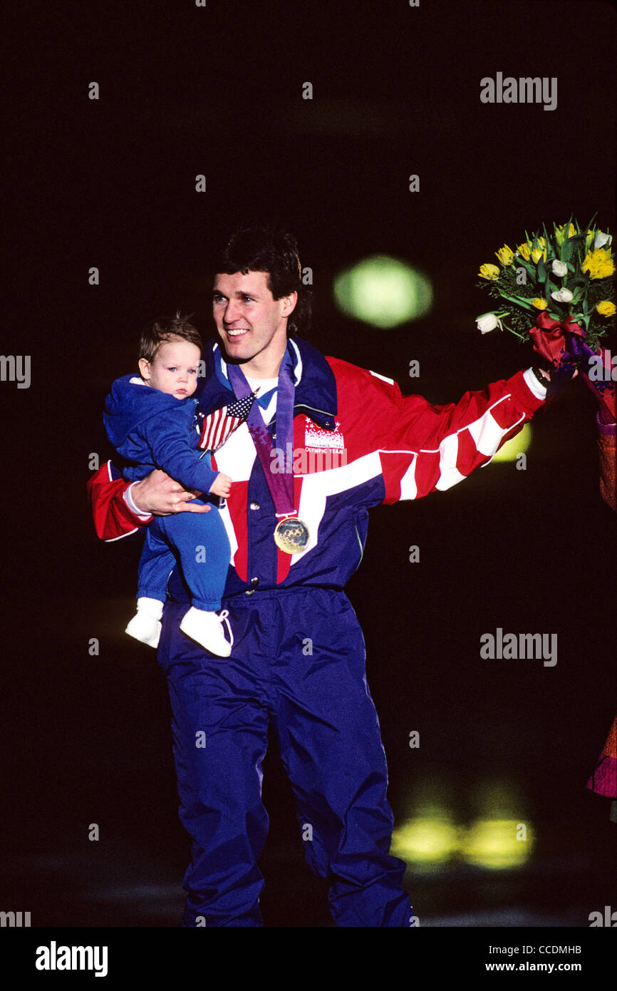 Dan Jansen (USA) with  his baby daughter after winning the gold in the 1000 meters speed skating event. - Stock Image