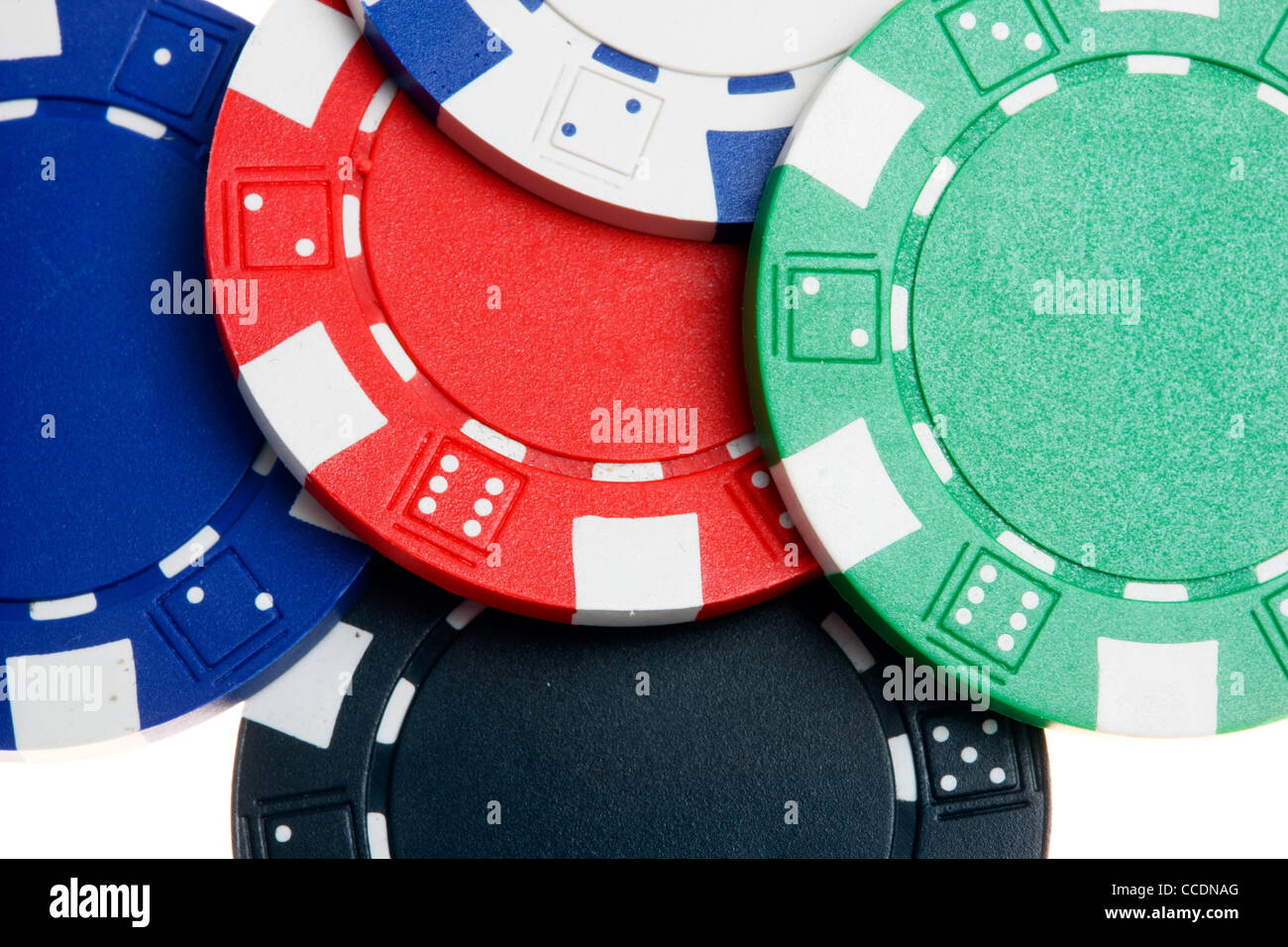 Poker game, different valued tokens, gaming chips. - Stock Image