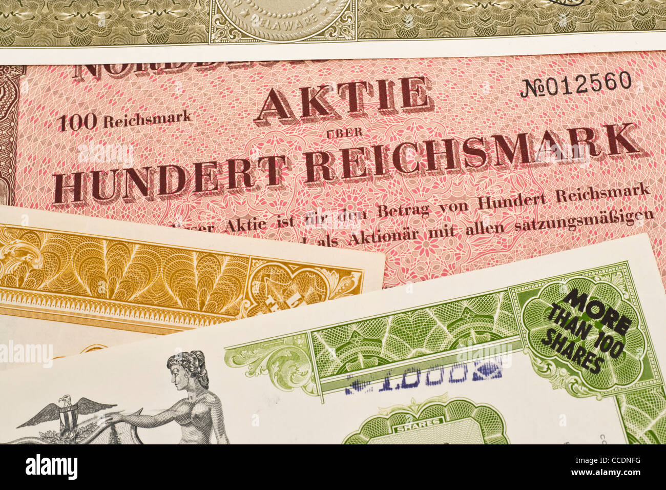 Detailansicht verschiedener alter Aktien | detail photo of some old shares Stock Photo