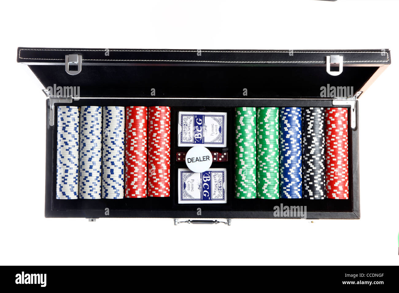 Poker game, cards, tokens, in a case. - Stock Image